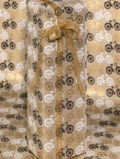 Wrapping paper black bicycle print is handmade, sustainable and stylish