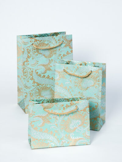 Gift bags teal splendour are handmade eco friendly and sustainable.