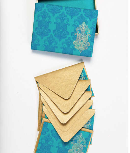 Turquoise chandelier note card is stylish and made from eco friendly paper.
