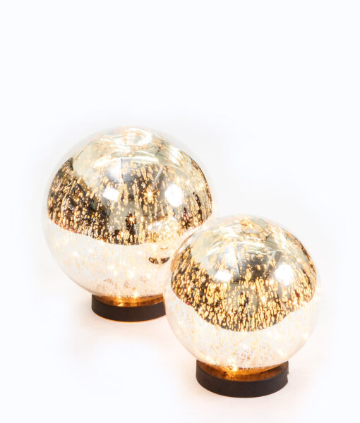Mercury Glass light balls are gorgeous & have 50 fairy lights which twinkle.