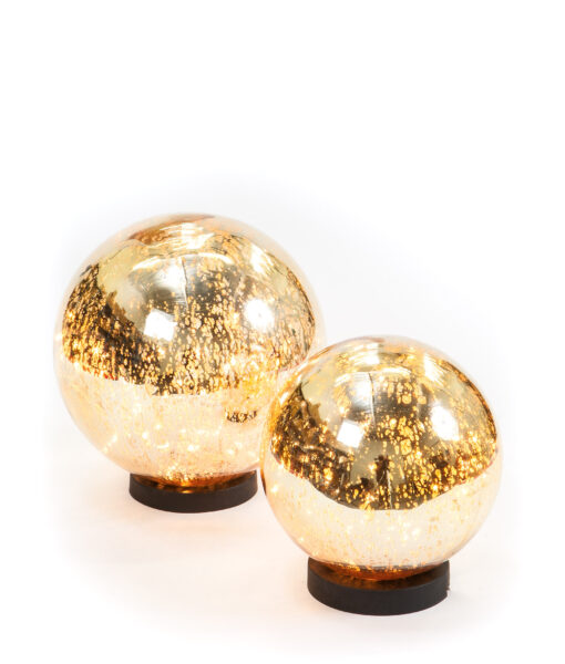Mercury Glass light ball is gorgeous & have 50 fairy lights which twinkle.