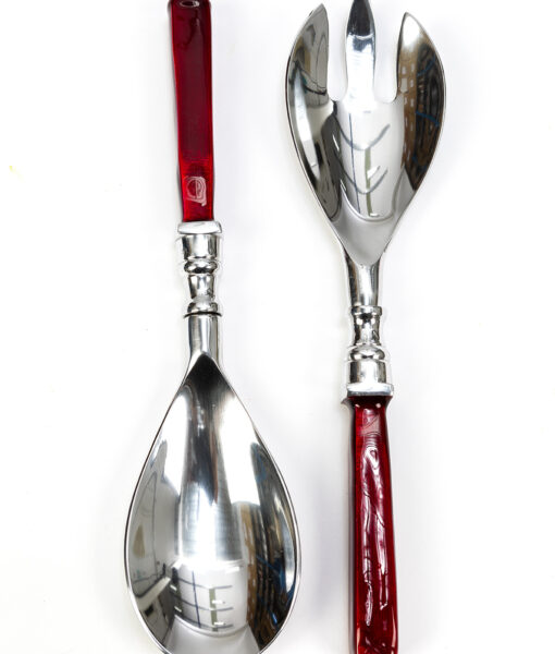Our recycled aluminium salad servers red are elegant and eco friendly too.