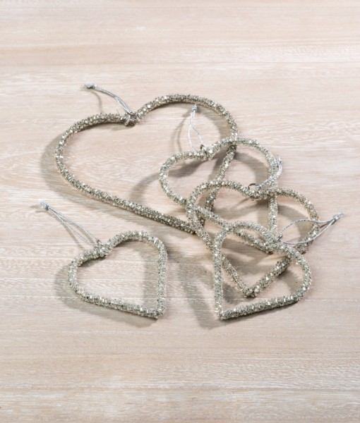 These silver beaded hearts are very popular as they are very versatile.