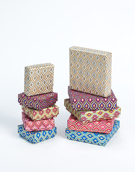 This handmade jewellery box with retro geometric print is eco friendly.