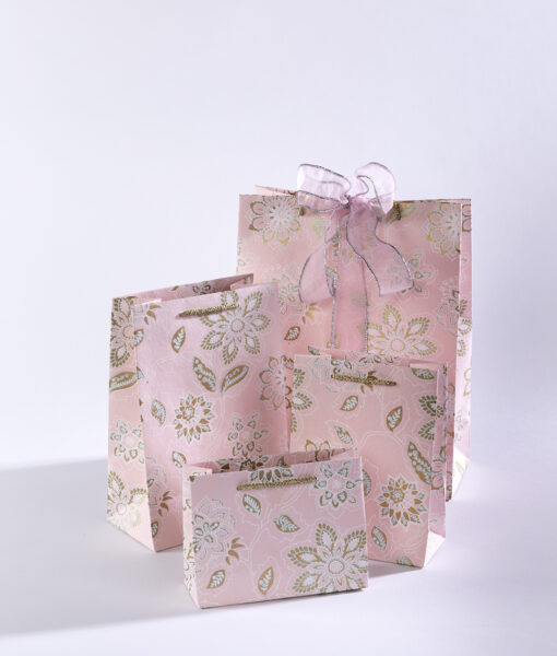 Gift bags baby pink dahlia is full of blooming flowers & eco friendly.