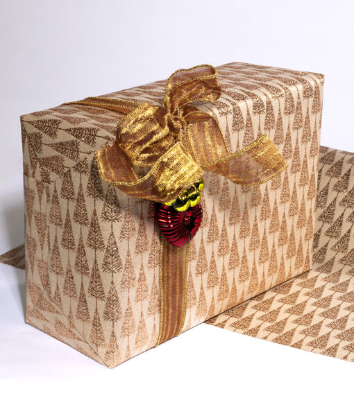 Wrapping paper gold glitter tree is smart, sophisticated and eco friendly.