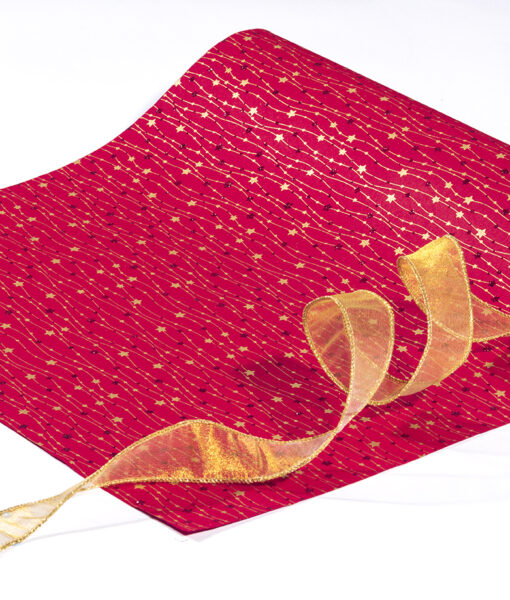 Wrapping paper red meandering stars is classy, traditional and eco friendly.