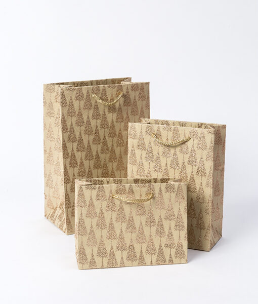 Gift bags gold glitter tree print add sparkle to you gift and are eco friendly.