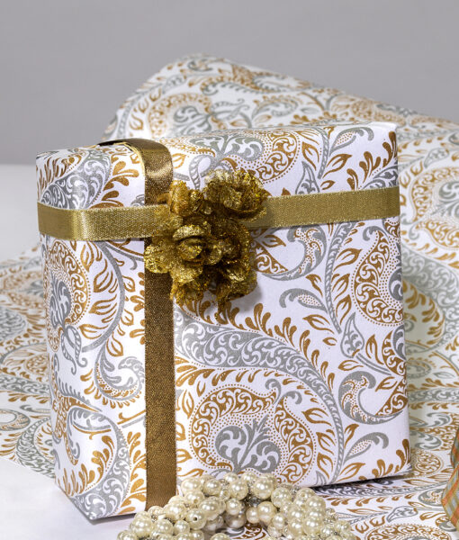 Wrapping paper white/gold splendour is handmade, rich and sustainable.