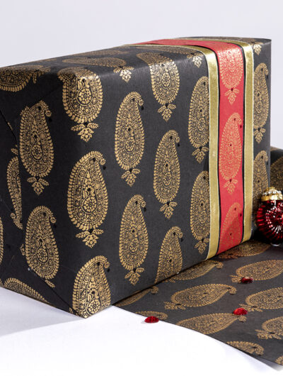 Wrapping paper black Paisley Motif is elegant eco friendly and sustainable.