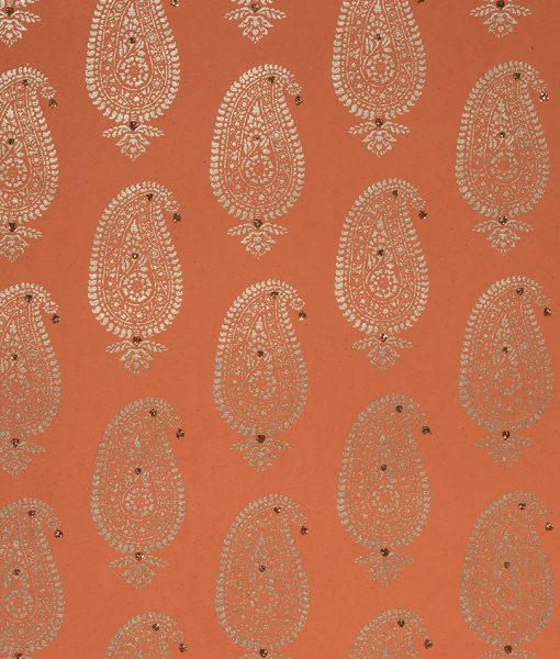 Wrapping paper orange Paisley Motif is eco friendly and sustainable.