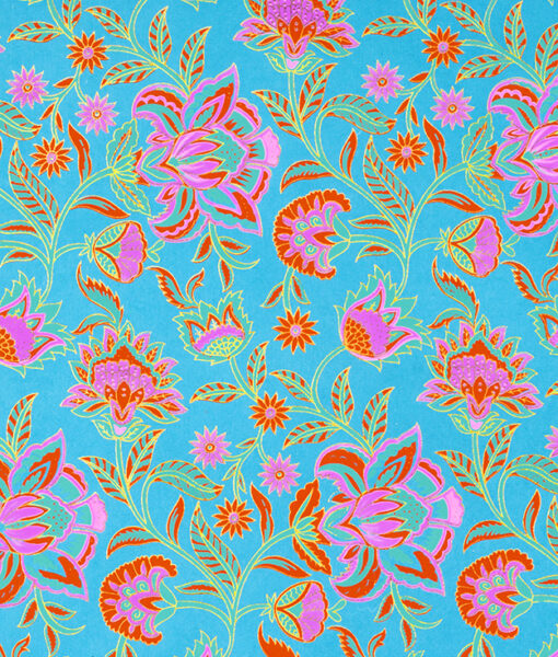 Wrapping Paper turquoise floral twist is vibrant, eco friendly & sustainable.