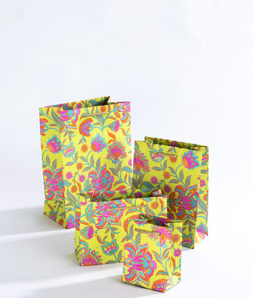 Handmade gift bags green floral twist is colourful and eco friendly too.