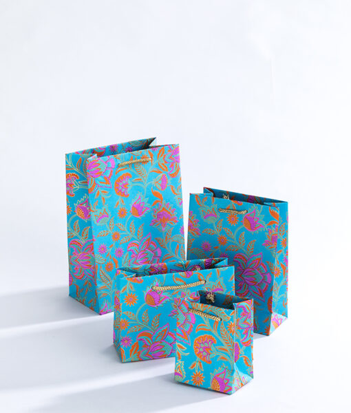 Handmade gift bags turquoise floral are vibrant, luxurious and eco friendly.