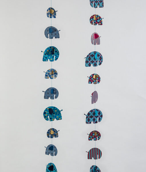 Elephant paper mobiles are handmade, eco friendly and ever so colourful .