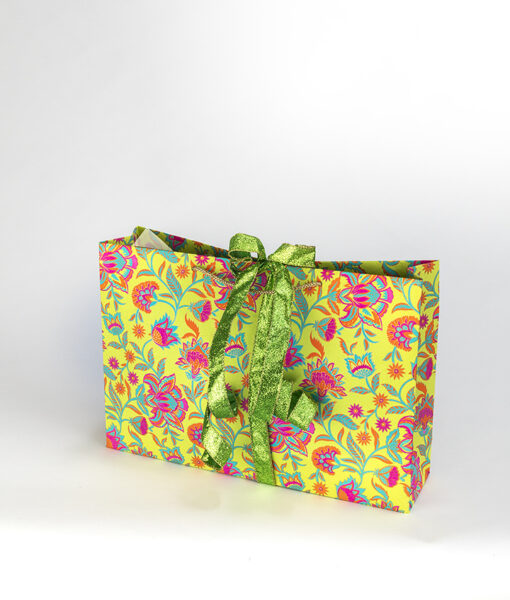 Gift Bag green floral twist is vibrant, luxurious, sustainable and eco friendly.