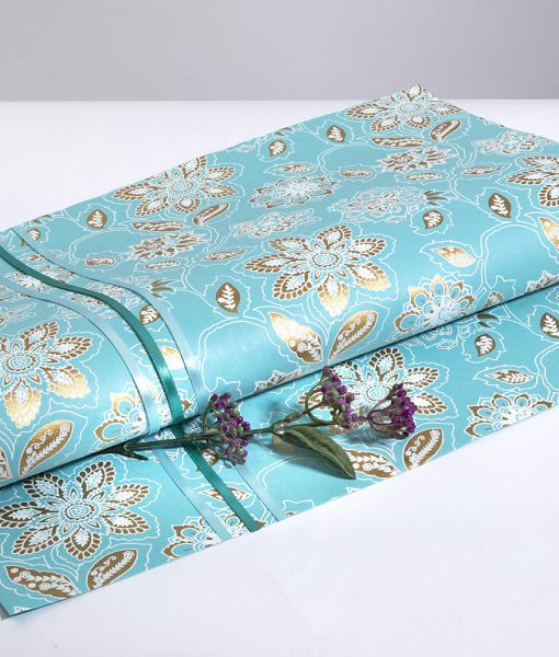Wrapping paper blue dahlia print is eco friendly, handmade & sustainable.