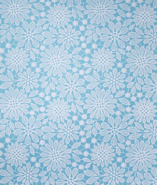 Wrapping paper blue lace print adds romance but it is eco friendly.