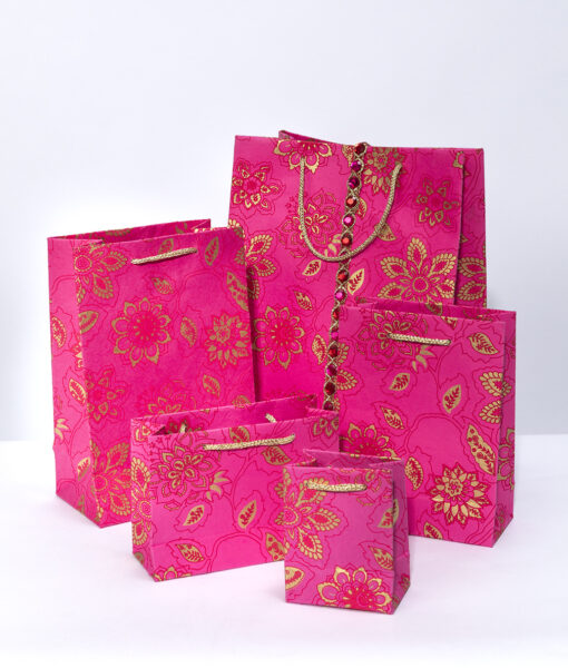 Handmade gift bags pink dahlia are luxurious, vibrant, and Eco friendly too.