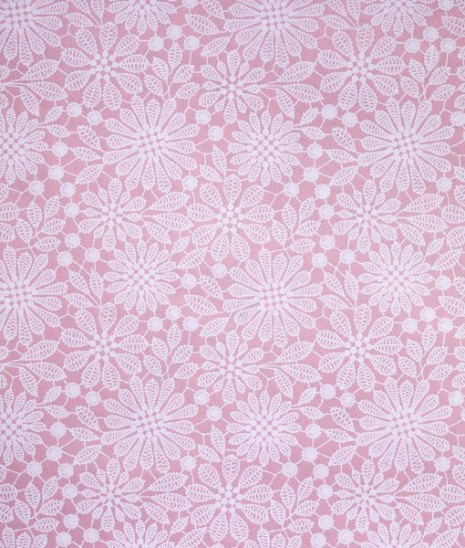 Wrapping paper pink lace print adds romance but it is eco friendly.