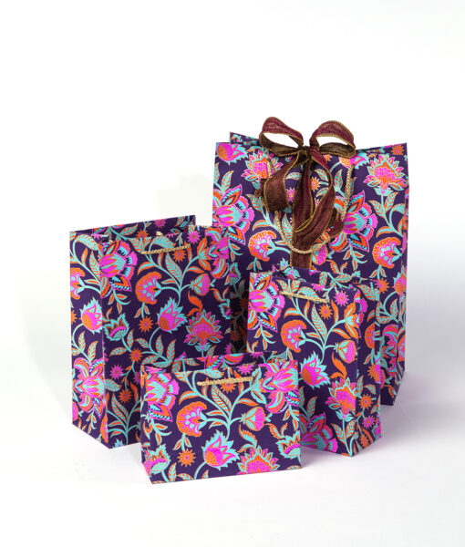 Gift bags purple floral twist is bursting with colours, it is eco friendly too.