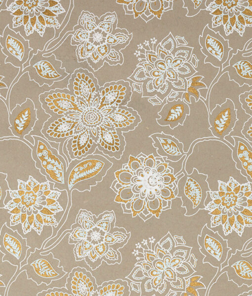 Wrapping paper beige dahlia print is eco friendly, handmade & sustainable.