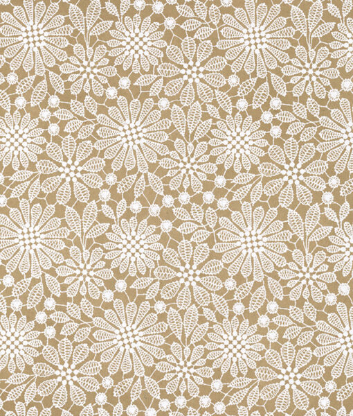 Wrapping paper beige lace print adds romance but it is eco friendly.