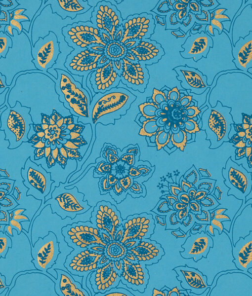 Wrapping paper turquoise Dahlia is full of blooming flowers & eco friendly.