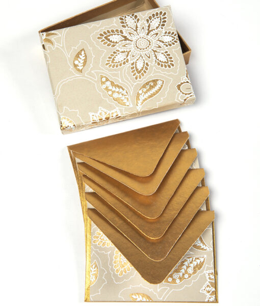Note card beige/gold dahlia is stylish and is made from eco friendly paper.