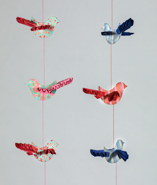 Bird paper mobile with beautiful origami wings is colourful and Eco friendly.