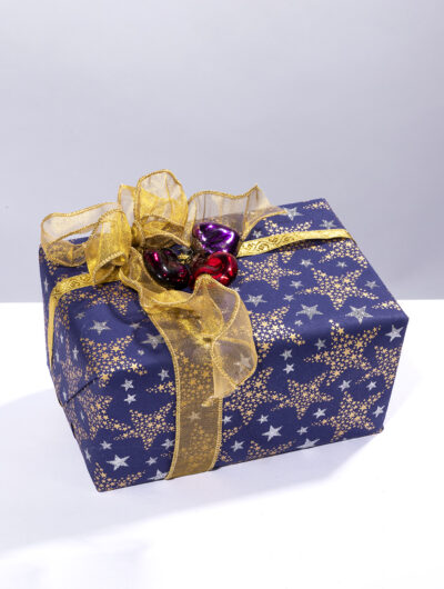 Wrapping paper navy multi stars is classy, traditional and eco friendly.