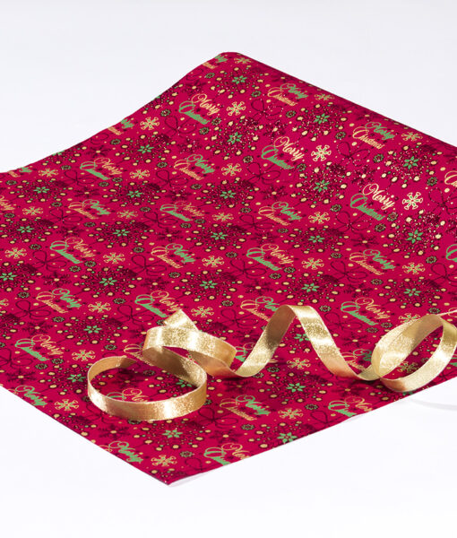 Wrapping paper red merry Christmas is contemporary & sustainable.