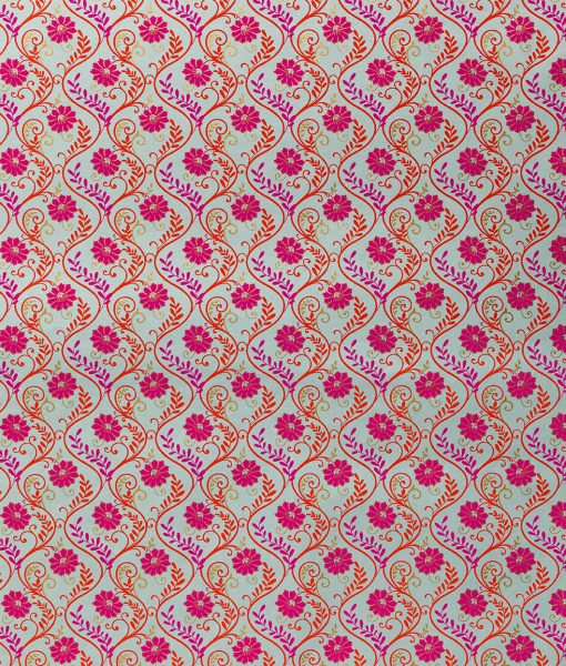 Wrapping paper blue pink floral liana is a handmade and eco friendly paper