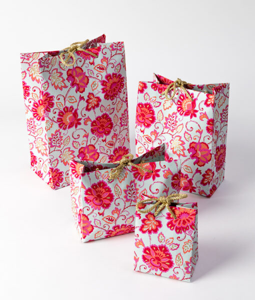 Gift bag blue/pink gorgeous floral is colourful. It is a fresh and crisp design.