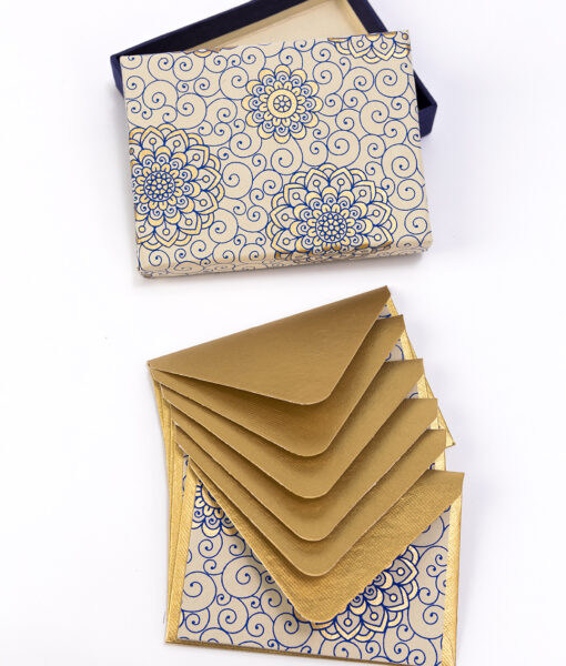 Note card blue Rangoli print is stunning & handmade from recycled paper.