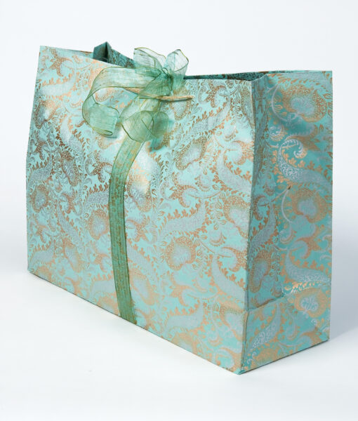 Gift bag teal splendour are handmade eco friendly and sustainable.