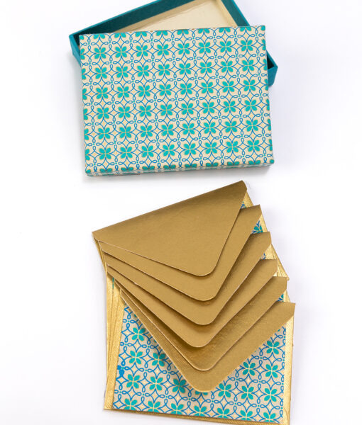 Note card turquoise motif is a geometric print using recycled cotton papers.