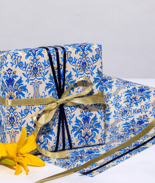 Wrapping Paper Beige/Blue Floral Chandelier is handmade & eco friendly