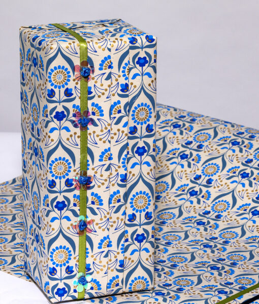 Wrapping paper beige/blue floral bouquet is handmade and eco friendly