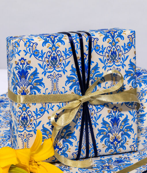 Wrapping Paper Blue Floral Chandelier is handmade & eco friendly