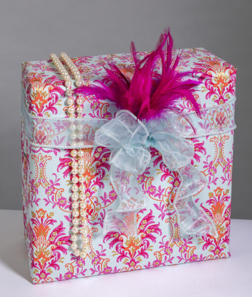 Wrapping paper blue pink floral chandelier is handmade and eco friendly.