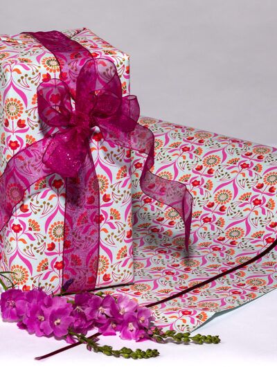 Wrapping paper pink/blue floral bouquet is handmade and eco friendly