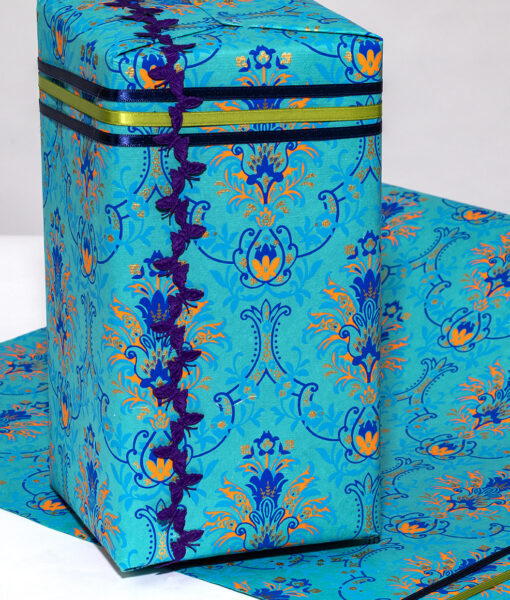 Wrapping paper Turquoise Floral Chandelier is handmade and eco friendly.