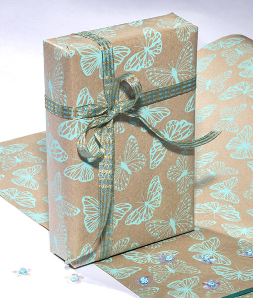 Wrapping paper Butterfly print is a handmade and eco friendly gift wrap