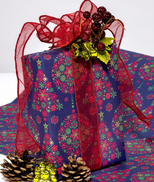 Wrapping paper navy tree and bauble is classy, traditional and eco friendly.