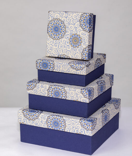 Gift boxes rangoli print are handmade, rich, colourful and eco friendly.
