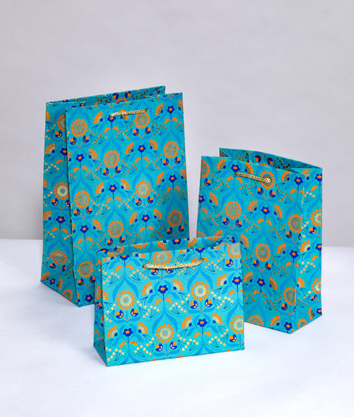 Gift Bags turquoise floral bouquet is vibrant and luxurious and eco friendly.