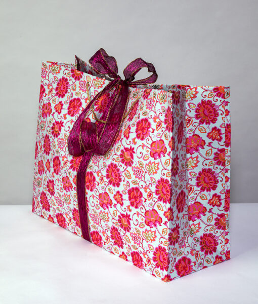 Gift bag blue/pink gorgeous floral is a colourful, fresh and crisp design.