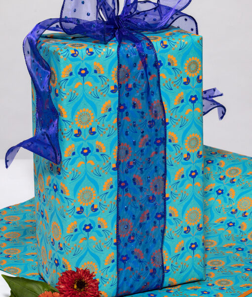 Wrapping paper turquoise floral bouquet is handmade and eco friendly.