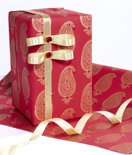 Wrapping paper Red Paisley Motif is smart eco friendly and sustainable.